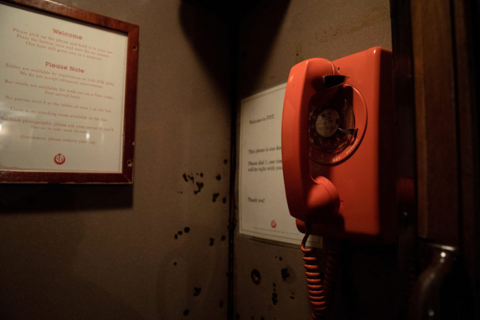 Dialing the red phone at Crif Dogs gives access to PDT bar
