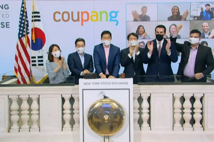 Coupang Corp. shares soared 41% from their opening price on the company's NYSE debut last month.