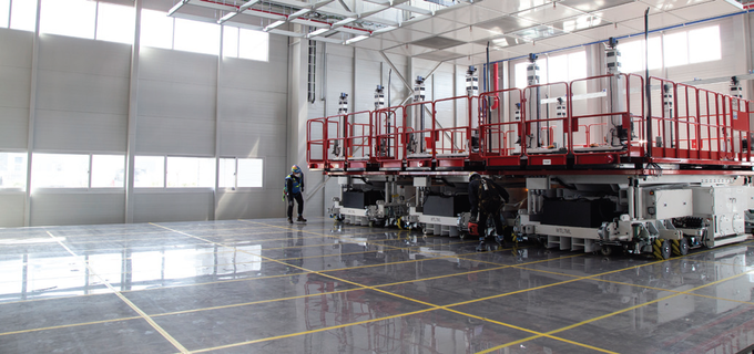 Wonbang Tech's lifts used for modular construction